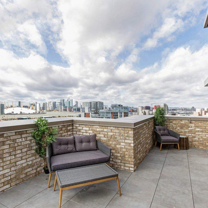 17th floor terrace at Royal Docks West