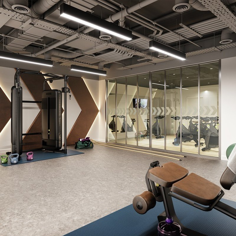 Residents' gym and spin room